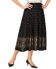 JM Collection Petite Glitter-Border A-Line Skirt, Created for Macy's