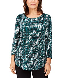 Petite Printed 3/4 Sleeve Top, Created for Macy's