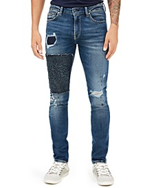 Men's Skinny-Fit Stitch Destroyed Jeans