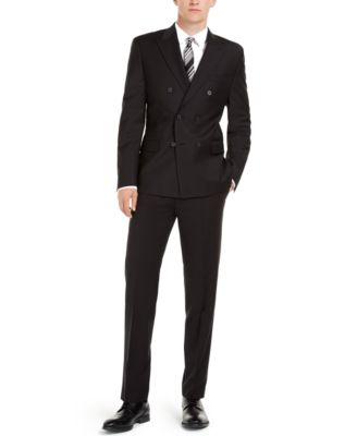 Men's Slim-Fit Infinite Stretch Black Double-Breasted Suit Jacket