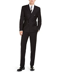 Men's Slim-Fit Infinite Stretch Black Double-Breasted Suit Separates