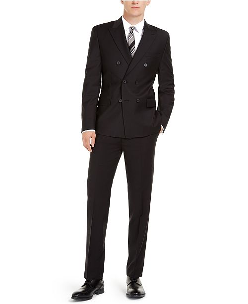 Calvin Klein Men's Slim-Fit Infinite Stretch Black Double-Breasted Suit Separates