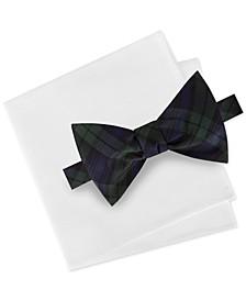 Men's 2-Pc. Black Watch Tartan Silk Bow Tie & Solid Pocket Square Set