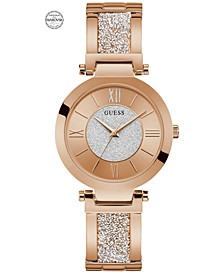 Women's Rose Gold-Tone Stainless Steel & Swarovski Crystal Bangle Bracelet Watch 36mm