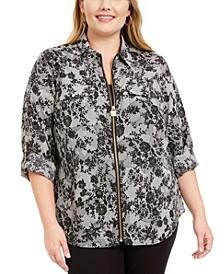 Plus Size Lace-Print Zippered Blouse