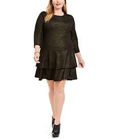 Plus Size Metallic Tiered Dress