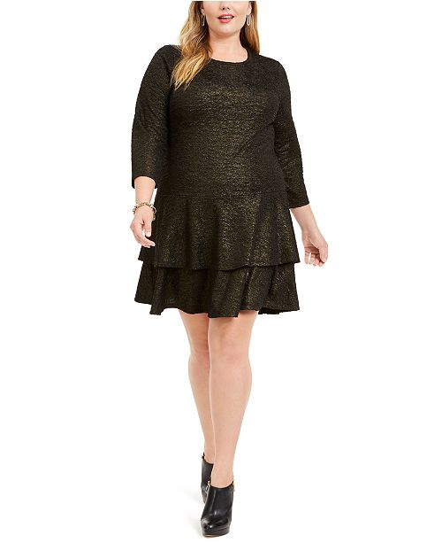 Michael Kors Plus Size Metallic Tiered Dress