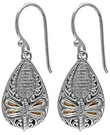 Cubic Zirconia Sweet Dragonfly Classic Drop Earrings in Sterling Silver and 18k Yellow Gold Accents