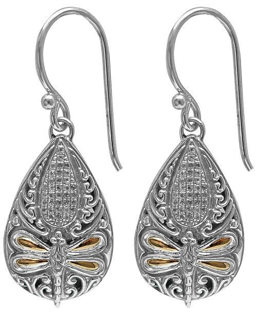DEVATA Cubic Zirconia Sweet Dragonfly Classic Drop Earrings in Sterling Silver and 18k Yellow Gold Accents
