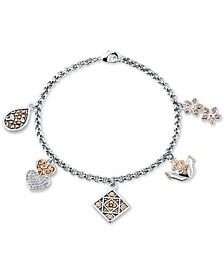 Flower & Heart Multi-Charm Bracelet in Two-Tone
