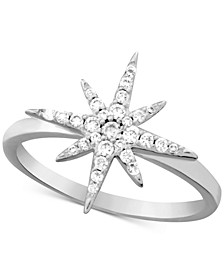 Cubic Zirconia Starburst Ring in Fine Silver-Plate