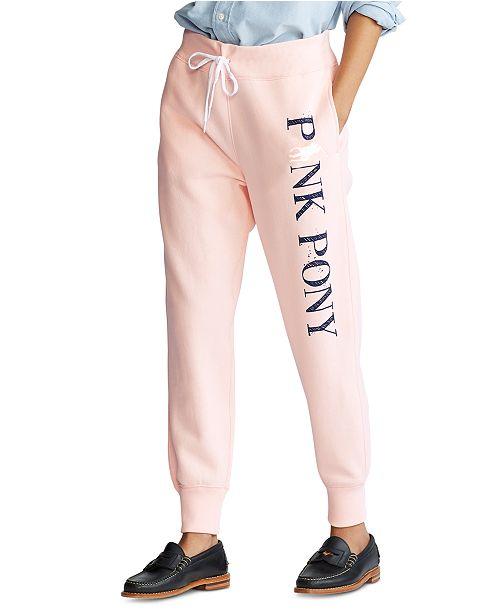 Polo Ralph Lauren Women's Pink Pony Fleece Sweatpants