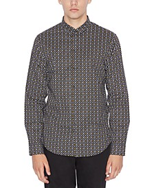 Men's Slim-Fit Stretch Logo-Print Shirt