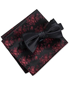 Men's 2-Pc. Alturas Solid Pre-Tied Bow Tie & Floral Pocket Square Set, Created For Macy's