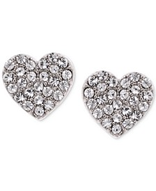 Silver-Tone Crystal Heart Stud Earrings, Created for Macy's