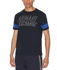 Men's Varsity Stencil AX Logo Striped Sleeve T-Shirt