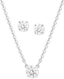 "Silver-Tone Crystal Pendant Necklace & Stud Earrings Set, 14"" + 2"" extender"
