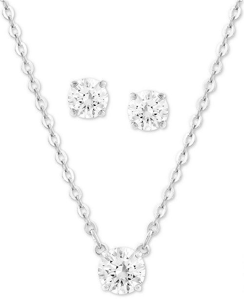 "Swarovski Silver-Tone Crystal Pendant Necklace & Stud Earrings Set, 14"" + 2"" extender"