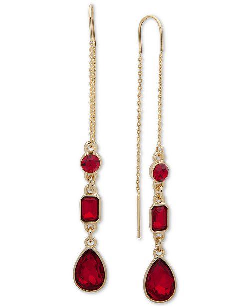 DKNY Crystal Teardrop Threader Earrings, Created For Macy's