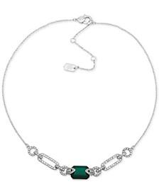 "Pavé Link & Stone Collar Necklace, 16"" + 3"" extender"