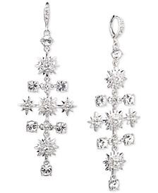 Silver-Tone Crystal Chandelier Earrings