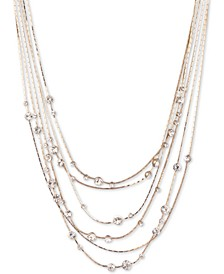"Gold-Tone Crystal Multi-Row Statement Necklace, 16"" + 3"" extender"