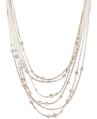 "Gold Tone Crystal Multi Row Statement Necklace, 16"" + 3"" Extender by General"