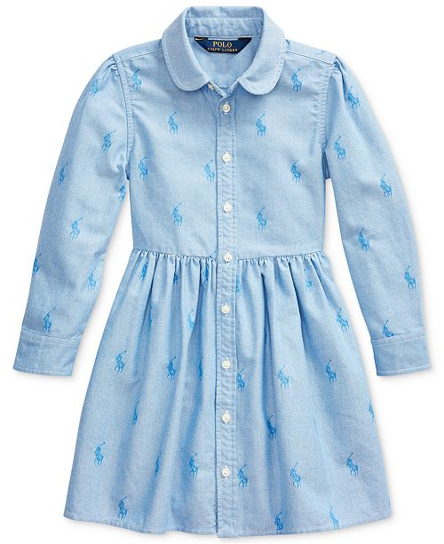 Polo Ralph Lauren Toddler Girl's Pony Cotton Shirtdress