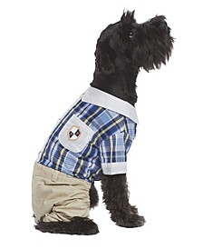 Plaid Royal Dog Jumpsuit