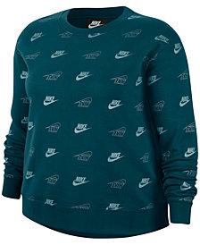 Nike Plus Size Metallic Logo-Print Fleece Top