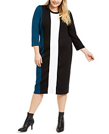 I.N.C. Plus Size Colorblocked Sweater Dress, Created For Macy's