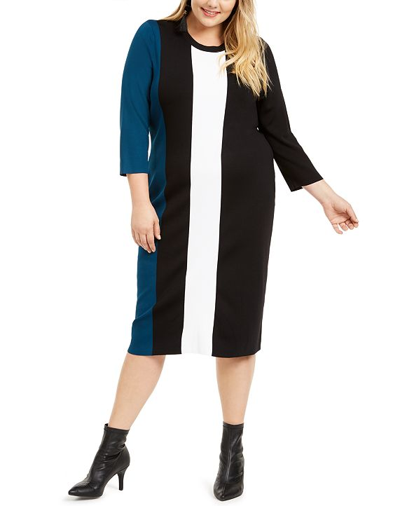 INC International Concepts I.N.C. Plus Size Colorblocked Sweater Dress, Created for Macy's