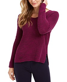 Ribbed V-Neck Cotton Sweater, Created For Macy's