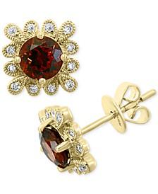 EFFY® Rhodolite Garnet (1-1/3 ct. t.w.) & Diamond (1/3 ct. t.w.) Stud  Earrings in 14k Gold
