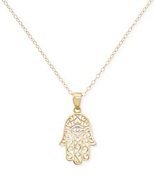 "Two-Tone Hamsa Hand 18"" Pendant Necklace in 10k Gold & White Gold"