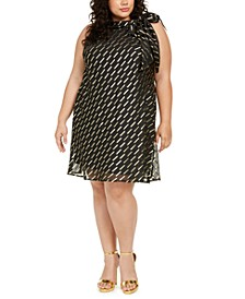 Plus Size Chiffon Tie-Neck Trapeze Dress