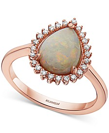 EFFY® Opal (2-1/5 ct. t.w.) & Diamond (1/10 ct. t.w.) Pear Halo Ring in 14k Rose Gold