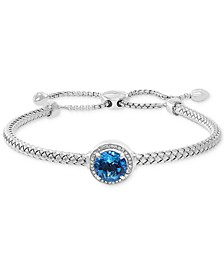 EFFY® Blue Topaz (3-1/3 ct. t.w.) & Diamond (1/10 ct. t.w.) Bolo Bracelet in Sterling Silver