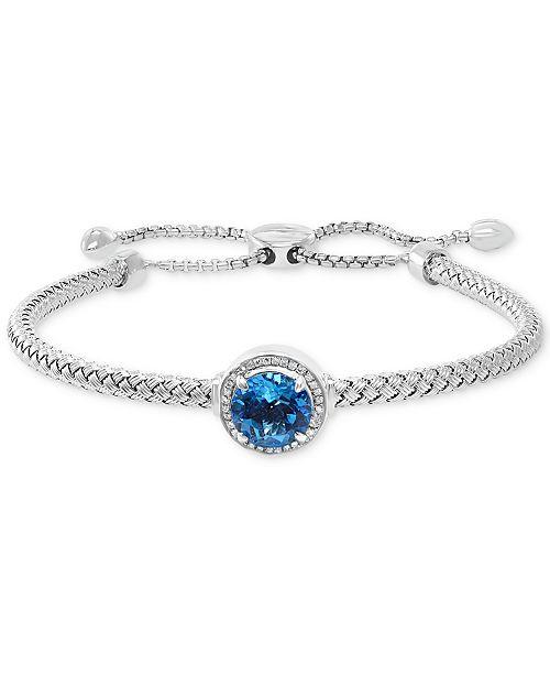 EFFY Collection EFFY® Blue Topaz (3-1/3 ct. t.w.) & Diamond (1/10 ct. t.w.) Bolo Bracelet in Sterling Silver