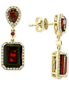 EFFY® Rhodolite Garnet (8 ct. t.w.), Ruby (5/8 ct. t.w.) & Diamond (1/4 ct. t.w.) Drop Earrings in 14k Gold