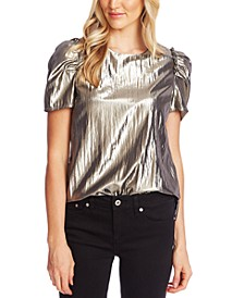 Metallic Puff-Sleeve Top