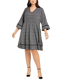 Plus Size Tweed Fit & Flare Dress