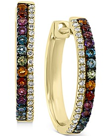 EFFY® Multi-Gemstone (1/2 ct. t.w.) & Diamond (1/6 ct. t.w.) Hoop Earrings in 14k Gold