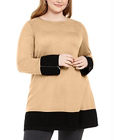 Plus Size Colorblocked Ottoman Tunic Sweater, Created For Macy's