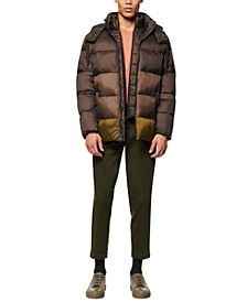 Men's Dovers Colorblocked Puffer Jacket with Inset Bib & Removable Hood