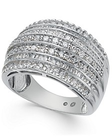 Diamond Multi-Row Statement Ring (1 ct. t.w) in 14k White Gold
