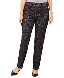 Petite Jacquard Straight-Leg Pants, Created For Macy's