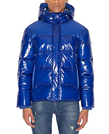 Men's Ribbed Puffer Jacket with Oil Coating