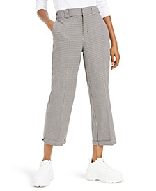 Cropped Gingham-Print Pants