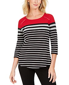Sport Colorblocked Striped Grommet Top, Created for Macy's